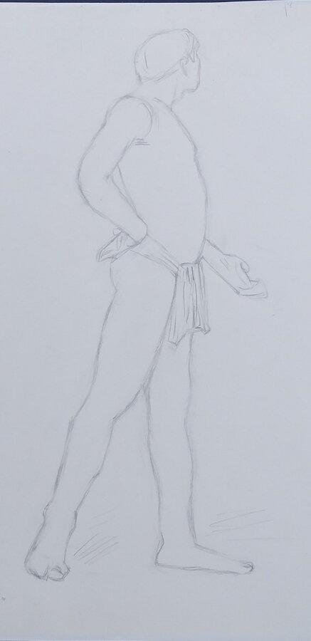 Mireille homme debout crayon hb
