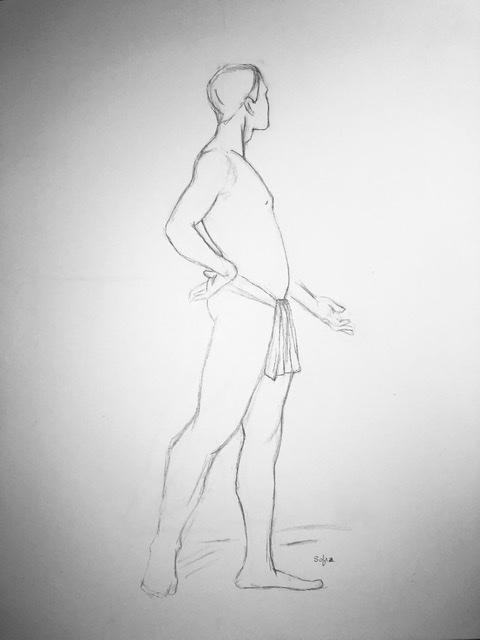Planche 111-27 homme debout - crayon H . Très difficile pour moi... j'ai dû terminer à main levée sans la corde en m'installant sur ma planche à dessin.