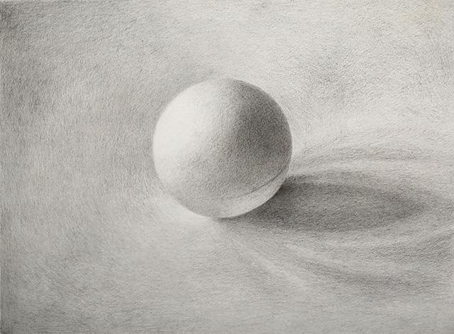 Balle de ping pong, crayons Faber-Castell -d'après écran (imprimante en panne)
