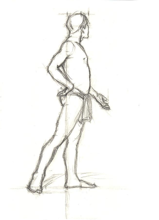 Planche III-27, crayon H. C'est pas ma façon habituel de dessiner sur chevalet, j'en deviens maladroit.