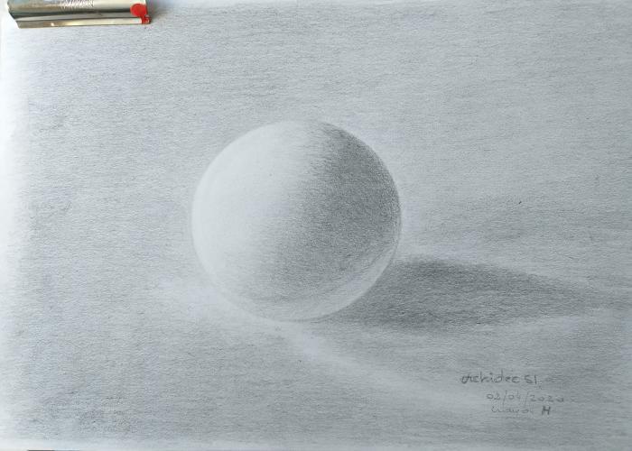 balle de ping pong crayon graphite H essai n 3 plus grisé